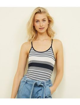 Blue Textured Stripe Cami by New Look