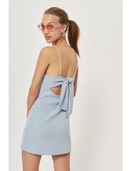 Petite Gingham Mini Pinafore Dress by Topshop
