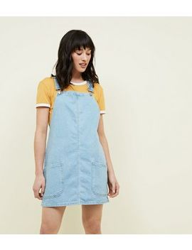 Blue Light Wash Denim Pinafore Dress by New Look