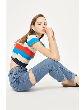 Moto Side Ripped Mom Jeans by Topshop