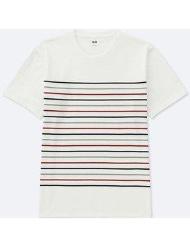 Men 100% Cotton Striped Crew Neck Short Sleeve T Shirt by Uniqlo