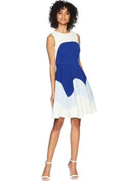 Color Block Textured Fit And Flare Dress by Taylor