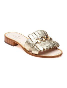 Women's Metallic Brie Gold Leather Kiltie Slide Sandals by Kate Spade