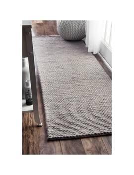 Nu Loom Handmade Chunky Braided Light Grey Wool Runner Rug (2'6 X 8') by Nuloom