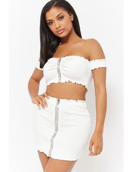Zip Front Crop Top & Skirt Set by Forever 21