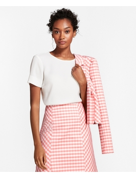 Crepe Short Sleeve Blouse by Brooks Brothers