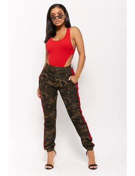 Side Stripe Camo Trousers by Forever 21