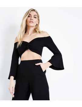 Black Twist Front Bell Sleeve Crop Top by New Look