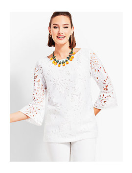 Leaf Lace Flounce Sleeve Top by Talbots