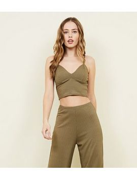Khaki Ribbed Bralet 				  				 					 				 			 			 					Khaki Ribbed Flared Split Side Trousers by New Look