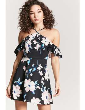 Floral Print Flounce Dress by Forever 21