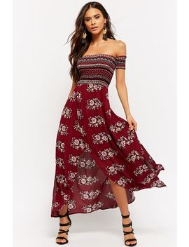 Floral Off The Shoulder Maxi Dress by Forever 21