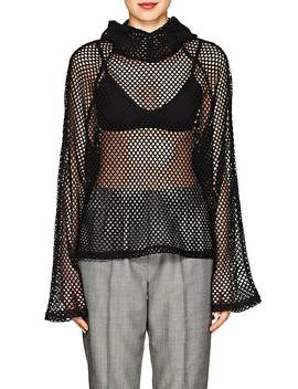 Embellished Mesh Knit Hoodie by Blindness