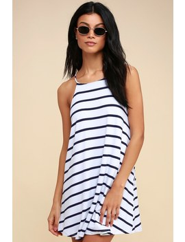 Step Right Up Navy Blue And White Striped Swing Dress by Lulus