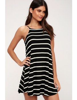 Step Right Up Black And White Striped Swing Dress by Lulus
