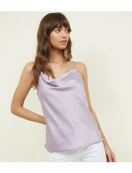 Lilac Crepe Satin Cowl Neck Cami by New Look