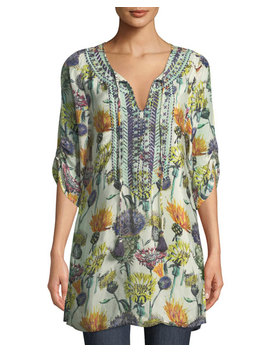 Cecily Floral Print Tie Neck Tunic by Tolani
