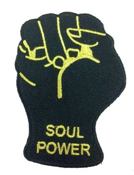 Soul Power Fist Black And Gold Embroidered Patch by Amazon