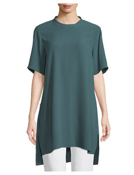 Silk Georgette High Neck Long Tunic by Eileen Fisher