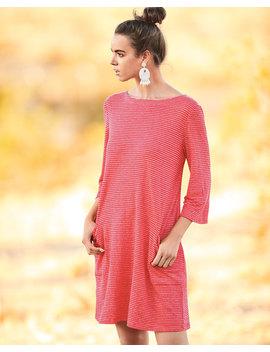 Organic Linen Mini Stripe T Shirt Dress by Eileen Fisher