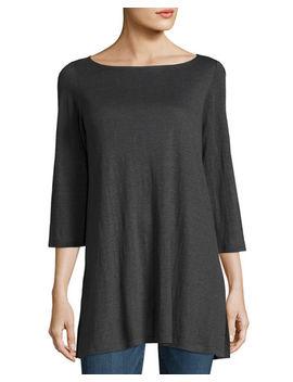 3/4 Sleeve Organic Linen Jersey Tunic by Eileen Fisher