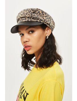 Leopard Baker Boy Hat by Topshop