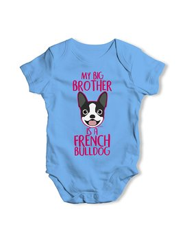 Twisted Envy Personalised My Sibling Is A French Bulldog Baby Unisex Funny Baby Grow Bodysuit by Amazon