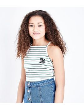 Teens White Stripe Hey Girl Cami by New Look