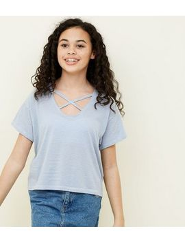 Teens White Contrast Lattice Front T Shirt by New Look