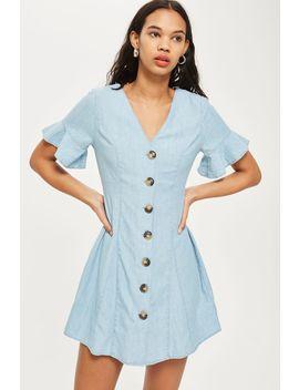 Horn Button Flippy Denim Dress by Topshop