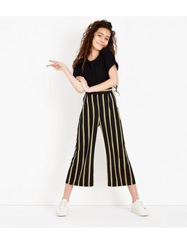 Teens Yellow Stripe Cropped Wide Leg Trousers by New Look