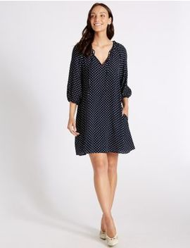 Spotted Long Sleeve Tunic Dress by M&S Collection