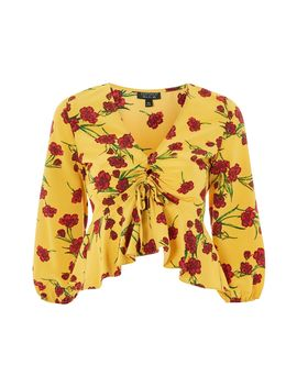Floral Print Ruched Keyhole Blouse by Topshop