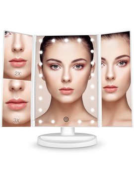 Bestope Vanity Makeup Mirror 1x/2x/3x Magnification Trifold 21 Led Lights With Touch Screen And Usb Charging, 180 Degree Adjustable Stand For The Countertop Cosmetic Makeup Mirror by Amazon