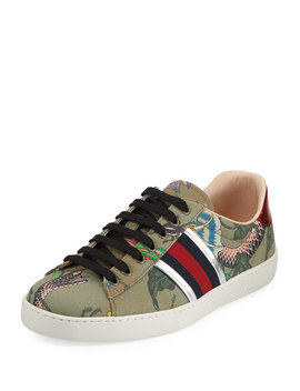New Ace Canvas Print Low Top Sneaker by Gucci