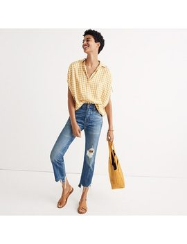 Central Ruched Sleeve Shirt In Gingham Check by Madewell