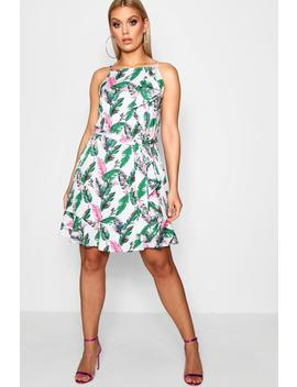 Plus Betsy Palm Print Ruffle Skater Dress by Boohoo