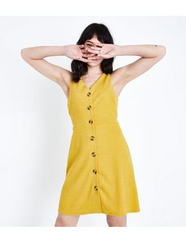 Mustard Cross Hatch Button Front Pinafore Dress by New Look