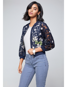 Embroidered Lace Jacket by Bebe