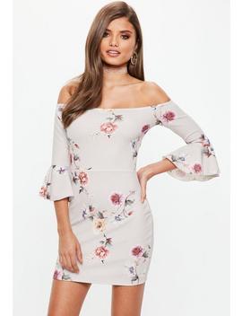 Gray Floral Print Bardot Mini Dress by Missguided