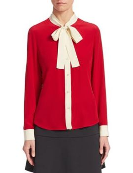 Silk Button Front Blouse by Red Valentino
