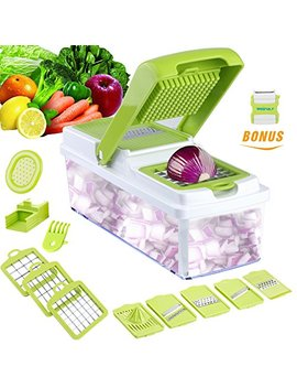 Vegetable Slicer Dicer Weinas Food Chopper Cuber Cutter, Cheese Grater Multi Blades For Onion Potato Tomato Fruit Extra Peeler Included by Weinas