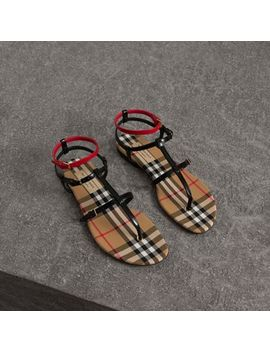 Vintage Check And Leather Sandals by Burberry