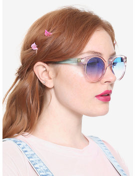 Pink &Amp; Blue Transparent Plastic Sunglasses by Hot Topic