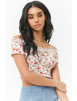 Floral Off The Shoulder Ruffle Trim Crop Top by Forever 21