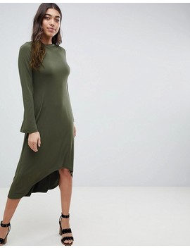 Asos Design Midi Shift Dress With Curved Hem by Asos Design