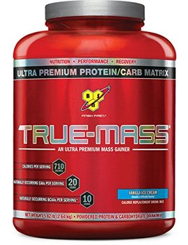 Bsn True Mass Weight Gainer, Muscle Mass Gainer Protein Powder, Vanilla Ice Cream, 5.82 Pound by Bsn