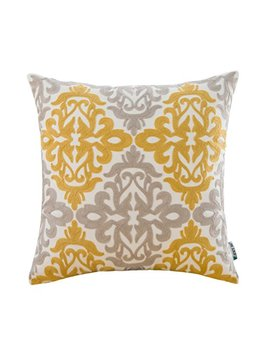 Hwy 50 Couch Throw Pillow Covers 18 X 18 Inch , 1 Pcs Cotton Canvas Embroidery Home Decorative Throw Pillows Cases For Sofa / Bed Yellow Grey Cushion Covers , European Design Floral by Hwy 50