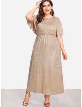 Fit & Flare Dolman Sleeve Dress by Shein