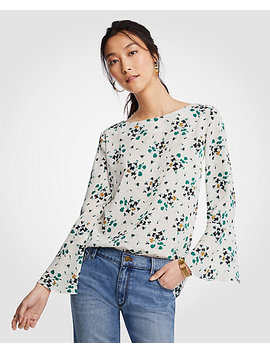 Petite Floral Boatneck Flare Sleeve Blouse by Ann Taylor